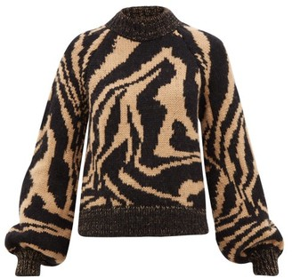 Ganni Tiger-jacquard Balloon-sleeve Wool-blend Sweater - Black Multi