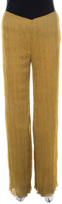 Alberta Ferretti Mustard Crinkled Chiffon Silk Palazzo Trousers S