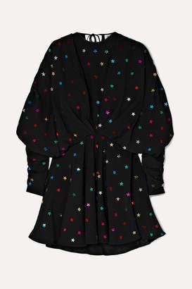 ATTICO Gathered Sequin-embellished Crepe De Chine Mini Dress - Black