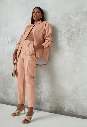 Missguided Peach Faux Leather Pocket Tapered Pants