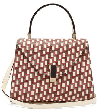 Valextra Iside Mini Geometric-print Leather Bag - Red Multi