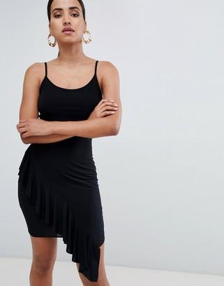 Rare London asymmetric frill hem mini dress