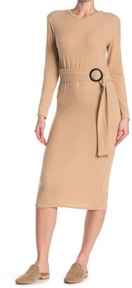Velvet Torch Long Sleeve Belted Midi Sweater Dress
