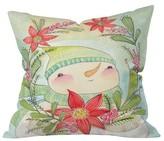 "DENY Designs Green Novelty Cori Dantini Snow Guy Throw Pillow (16""x16"