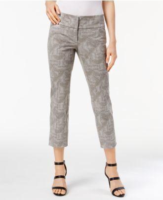 Alfani Woodgrain-Print Cropped Pants, Created for Macy's