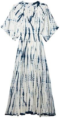 American Rose Elyse Long Sleeve Tie-Dye Maxi Dress (White/Navy) Women's Clothing