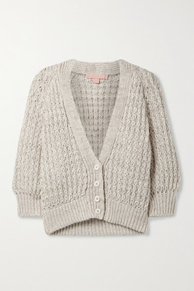 Brock Collection Cropped Linen And Cotton-blend Cardigan - Light gray