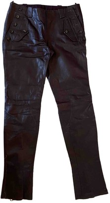 Trussardi Burgundy Leather Trousers for Women Vintage