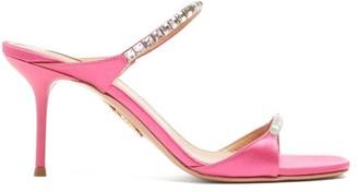 Aquazzura Diamante 75 Crystal-embellished Satin Mules - Womens - Pink