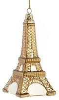Kurt Adler Noble Gems Gold French Eiffel Tower Glass Christmas Ornament
