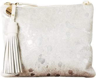Vash Mickey Flat Clutch In Silver Sparkle