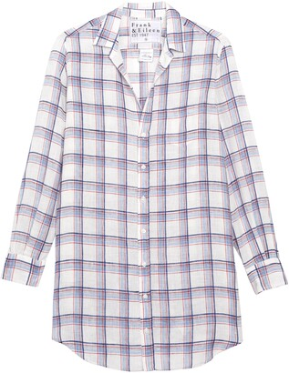 Frank And Eileen Mary Plaid Long Sleeve Linen Shirtdress