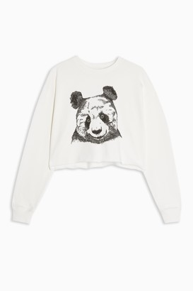Topshop Womens Cream Panda Cropped Sweatshirt - Cream