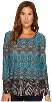 Tribal Long Sleeve Print Scoop Neck Top w/ Open Back Detail Women's Long Sleeve Pullover