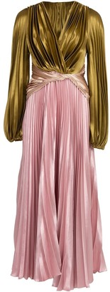 Peter Pilotto Pleated Liquid Satin Gown
