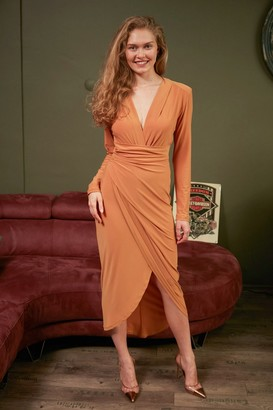 Jenerique Wrap over Midi Dress with Front Slit in Mustard Yellow colour by Jenerique