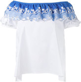 Peter Pilotto embroidered off shoulder top - women - Cotton/Polyamide/Spandex/Elastane - 6