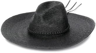 Saint Laurent Wide Brim Straw Fedora Hat