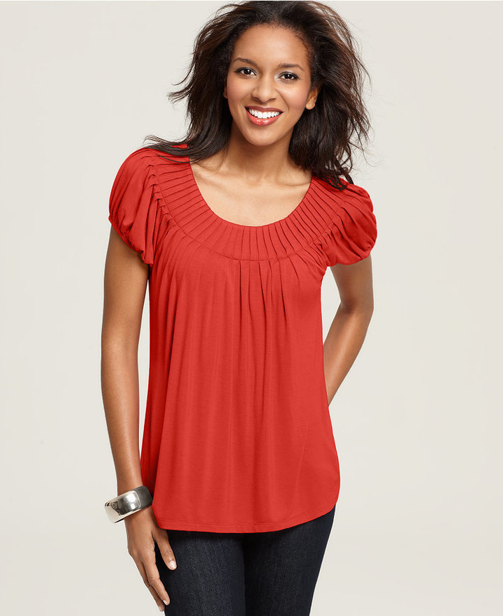 Style&Co. Petite Top, Cap Sleeve Solid Pleated Collar