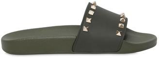 Valentino Rockstud Embellished Pvc Slide Sandals