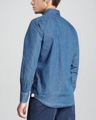 Neiman Marcus Chambray Button-Down Shirt
