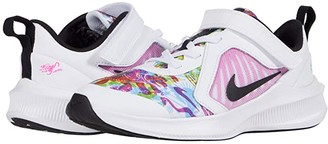 Nike Kids Downshifter 10 Fable (Little Kid) (White/Black/Fire Pink/Blue Fury) Girl's Shoes