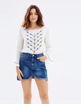 Living Doll Hi Lo Denim Mini Skirt