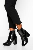 boohoo Wide Fit Block Heel Shoe Boots