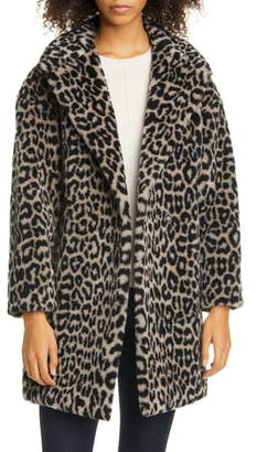 Harris Wharf London Double Breasted Leopard Teddy Faux Fur Coat