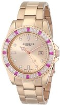 Akribos XXIV Unisex AK702RG Swiss Quartz Red Crystal Rose-tone Stainless Steel Bracelet Watch
