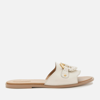 See by Chloe Women's Leather Slide Sandals - Chalk
