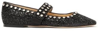 Jimmy Choo Minette Glitter-embellished Mary-jane Flats - Black