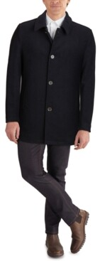 Cole Haan Men's Classic-Fit Car Coat with Faux-Leather Trim