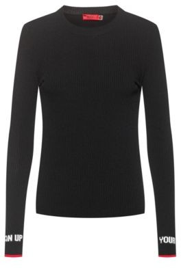 HUGO BOSS Slim Fit Sweater With Jacquard Slogan Cuffs - Black