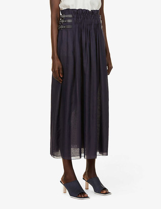 Gabriela Hearst Fjord high-waist cotton-silk blend midi skirt