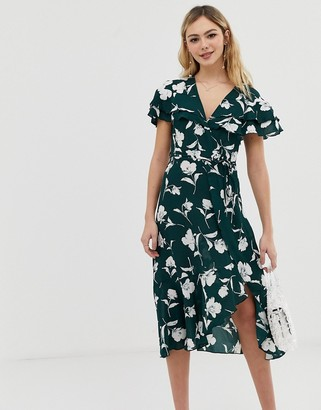 Liquorish floral wrap dress with ruffle sleeves-Green