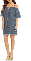 Trina Turk Chill Cold-Shoulder Frayed Chambray Dress