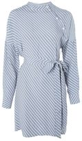 Topshop Stripe button neck shirt dress