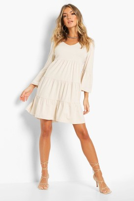 boohoo Wrap Tiered Smock Dress