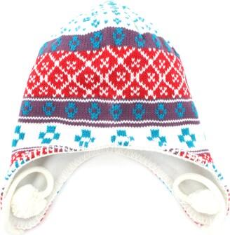 Rjm Ladies White Mix Peruvian Pom Pom Hat + Fleece Lining GL308