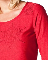 Coldwater Creek Embroidered snowflake tee