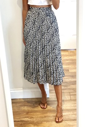Gini London White Pleated Leopard Print Midi Skirt
