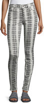 7 For All Mankind High-Waist Houndstooth-Print Skinny Jeans, White/Black