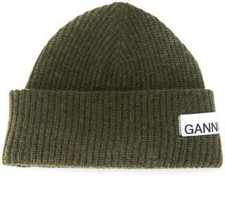 Ganni ribbed adjustable beanie