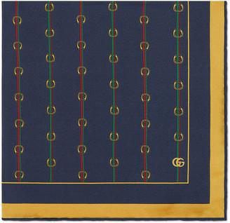 Gucci Men's Horsebit Silk Pocket Square