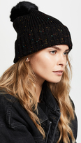 Adrienne Landau Knit Hat with Fur Pom Pom