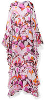 Emilio Pucci Ruffed Printed Silk-georgette Maxi Dress - Pink