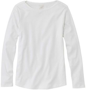 L.L. Bean Women's Pima Cotton Shaped Tee, Long-Sleeve Boatneck