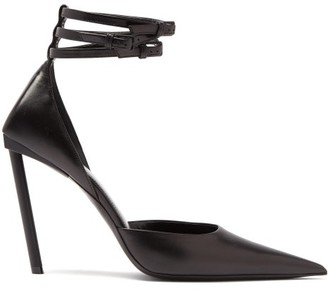 Balenciaga Ankle-strap Pointed Leather Pumps - Black