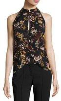 A.L.C. Keith Sleeveless Floral-Print Silk Top